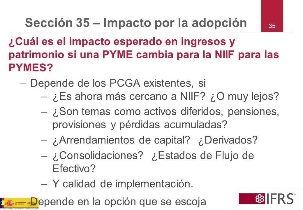 Sección 35 – Impacto por la adopción