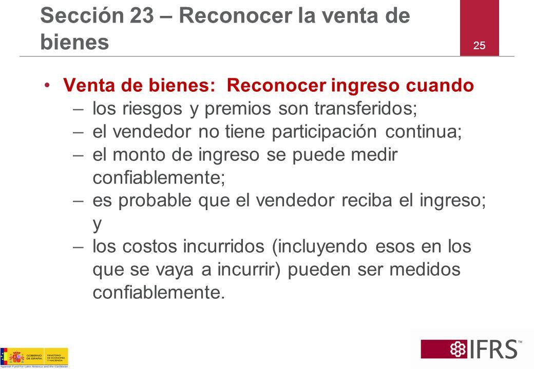 Sección 23 – Reconocer la venta de bienes