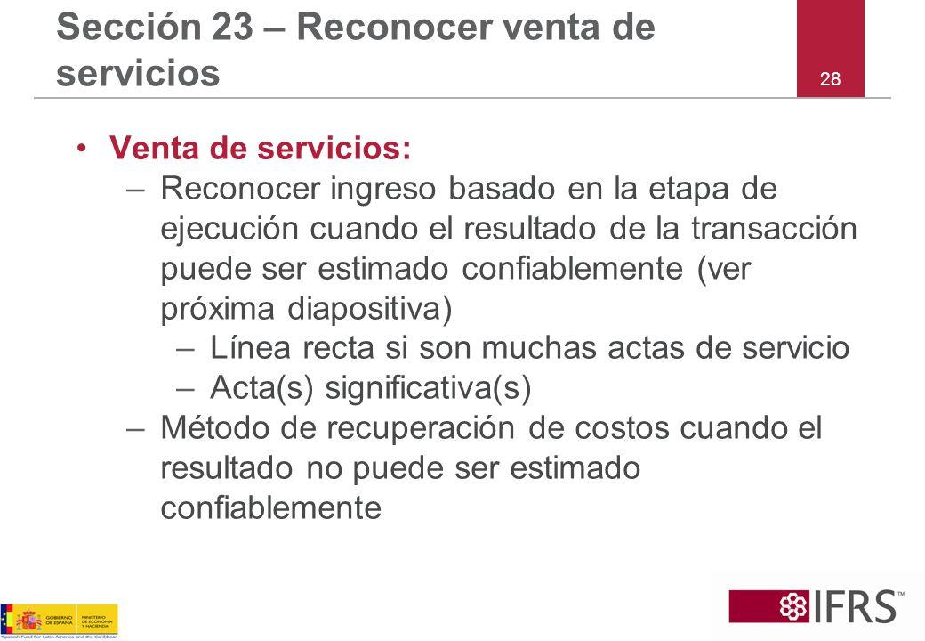 Sección 23 – Reconocer venta de servicios