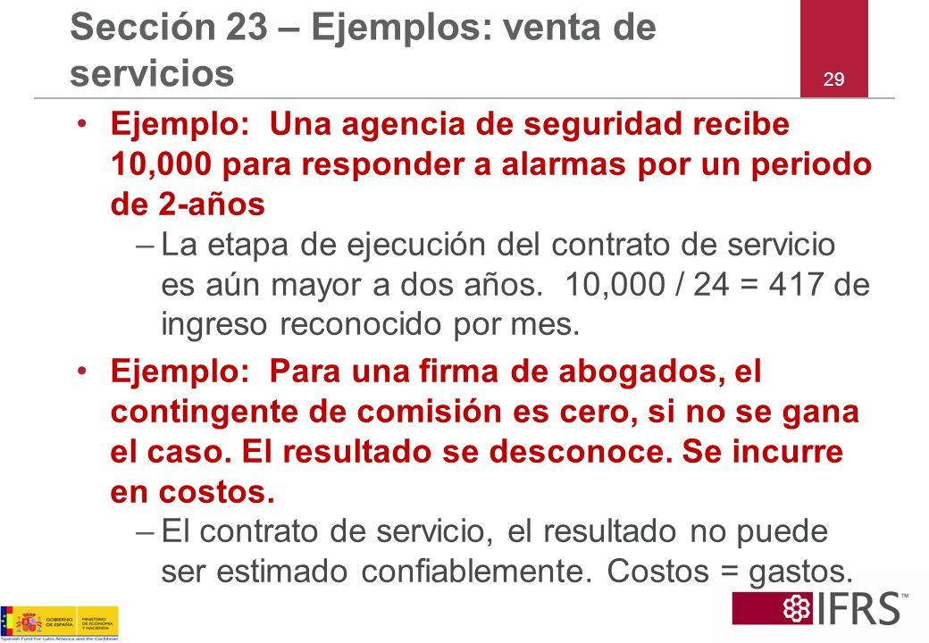 Sección 23 – Ejemplos: venta de servicios