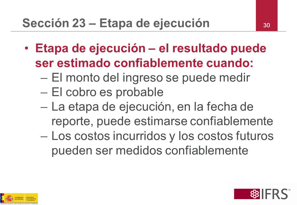 Sección 23 – Etapa de ejecución