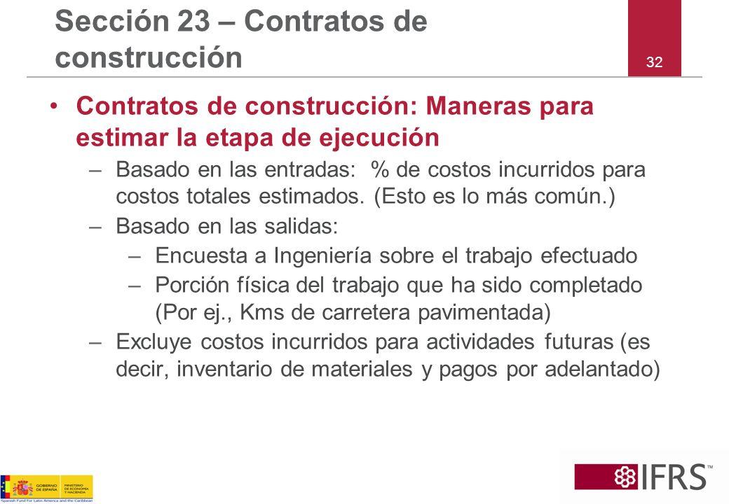 Sección 23 – Contratos de construcción