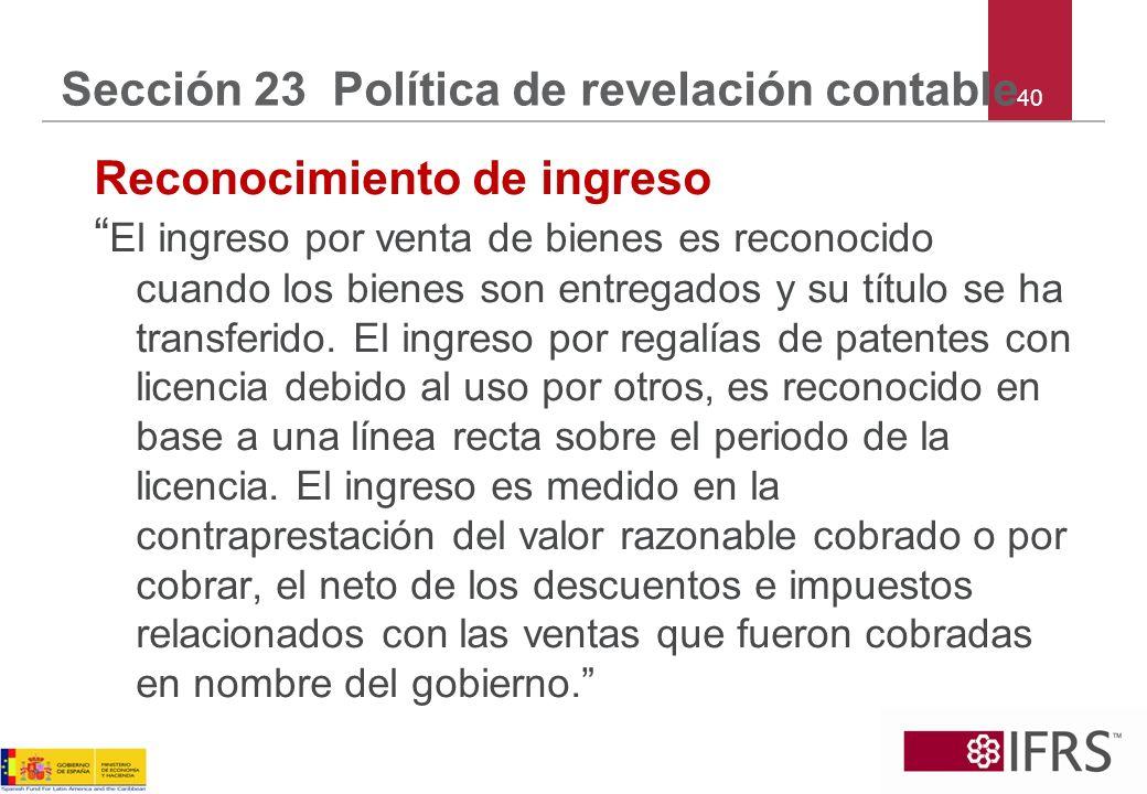 Sección 23 Política de revelación contable