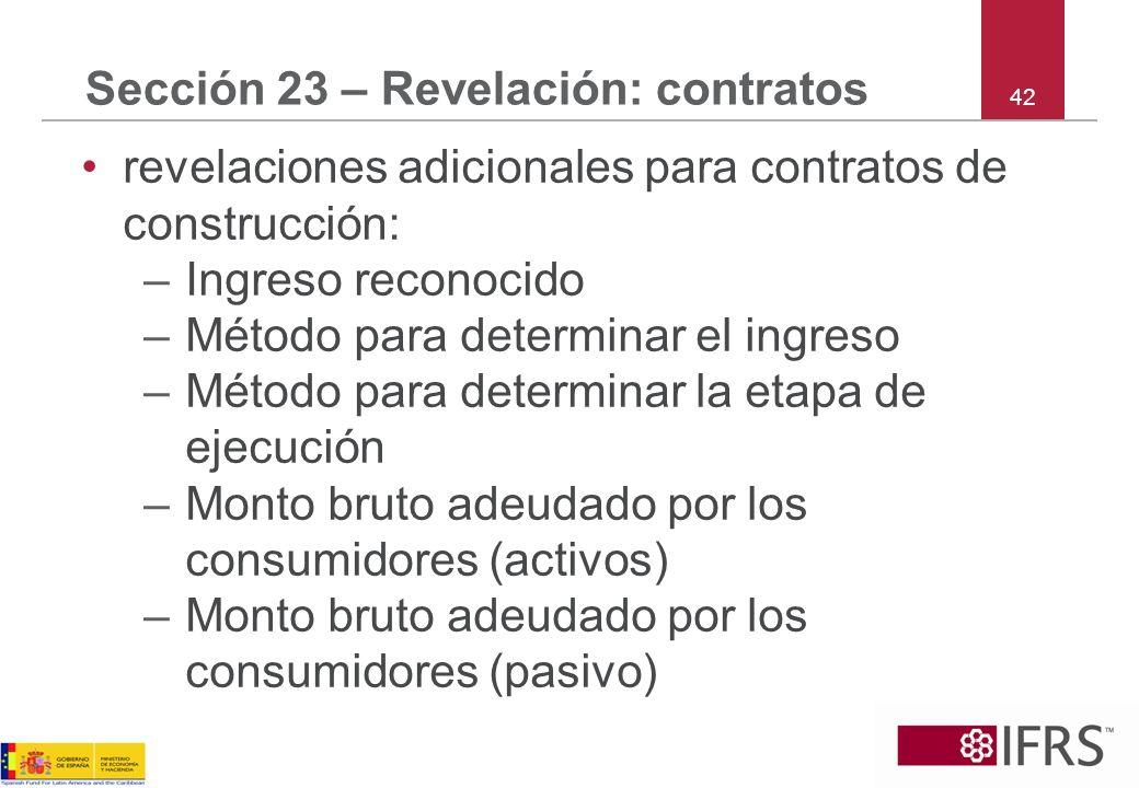 Sección 23 – Revelación: contratos