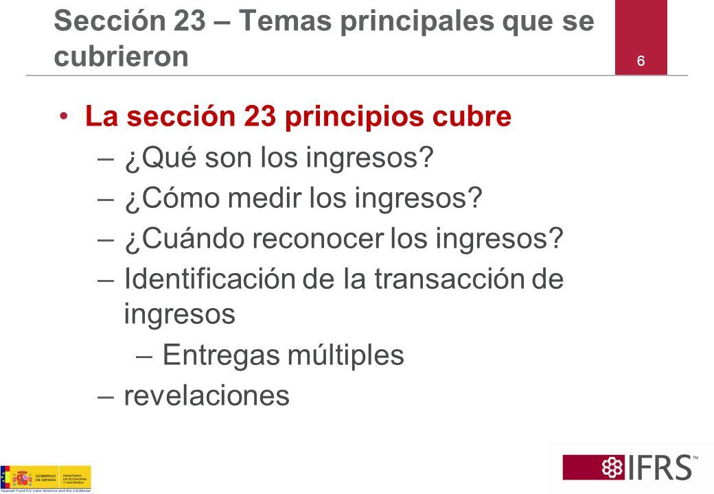 Sección 23 – Temas principales que se cubrieron