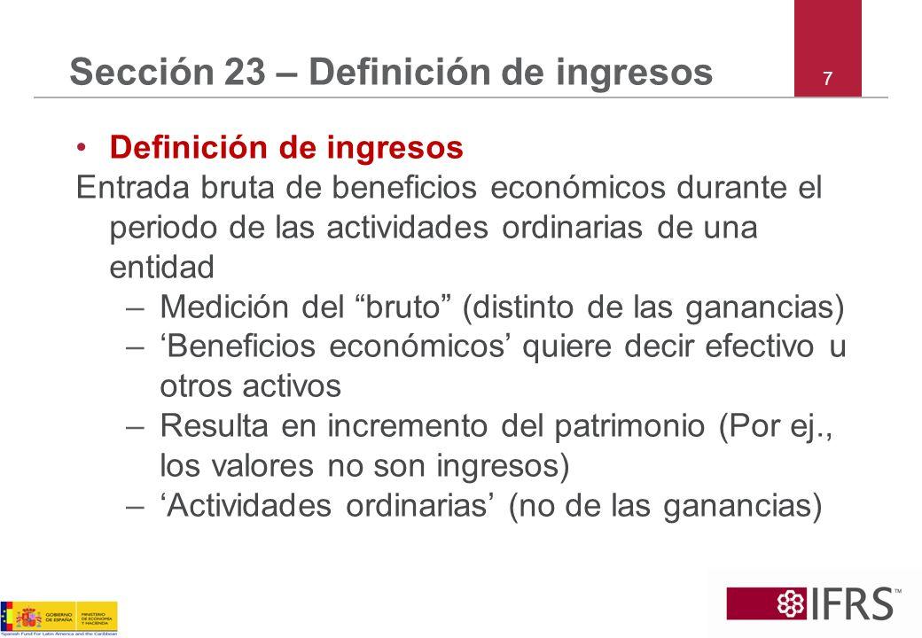 Sección 23 – Definición de ingresos