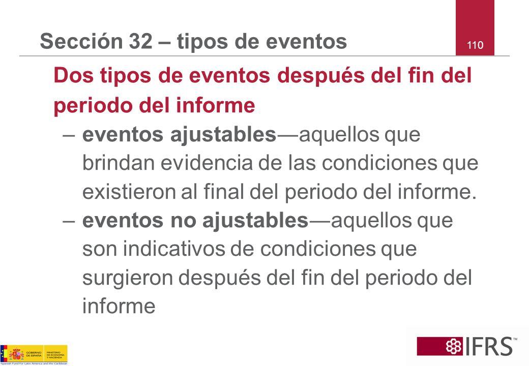 Sección 32 – tipos de eventos