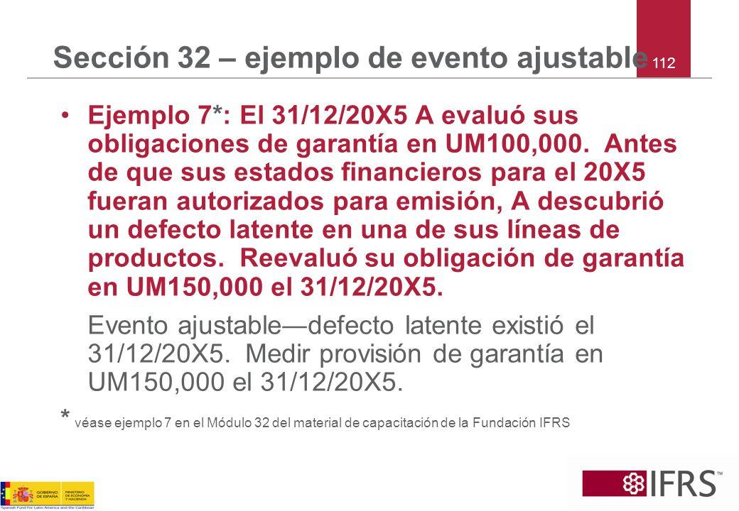 Sección 32 – ejemplo de evento ajustable