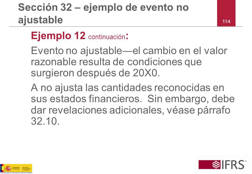 Sección 32 – ejemplo de evento no ajustable
