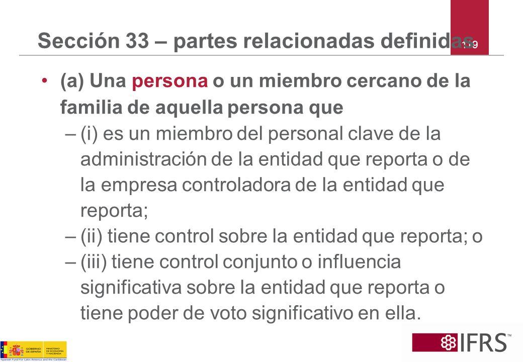 Sección 33 – partes relacionadas definidas