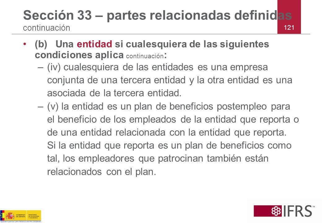 Sección 33 – partes relacionadas definidas continuación