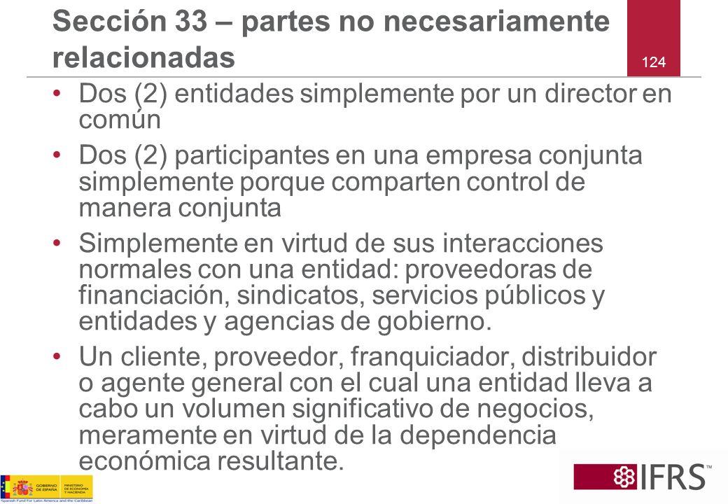 Sección 33 – partes no necesariamente relacionadas