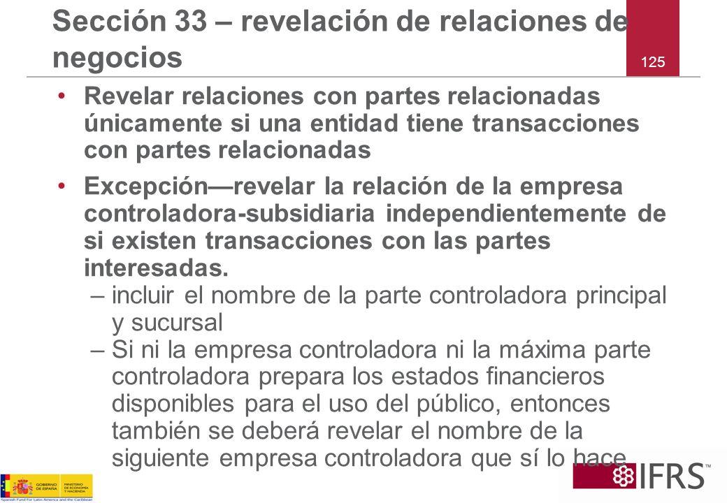 Sección 33 – revelación de relaciones de negocios