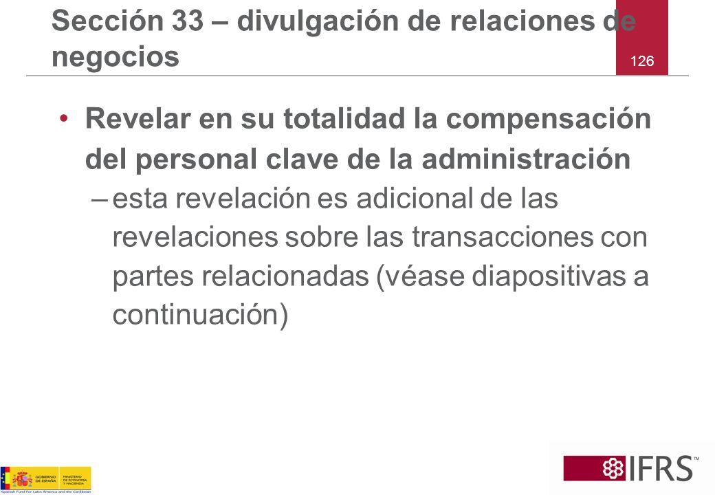 Sección 33 – divulgación de relaciones de negocios