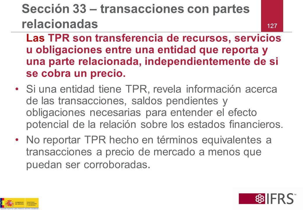 Sección 33 – transacciones con partes relacionadas
