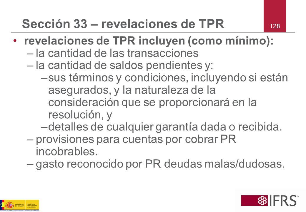 Sección 33 – revelaciones de TPR