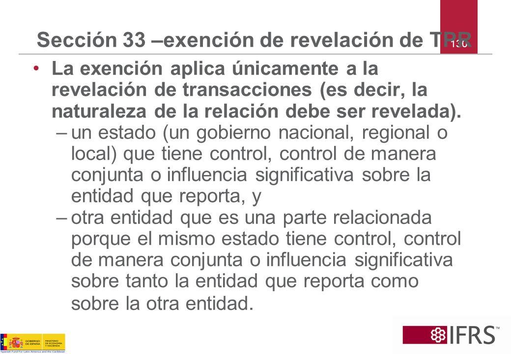 Sección 33 –exención de revelación de TPR