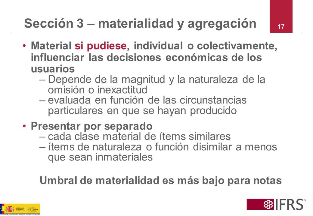 Sección 3 – materialidad y agregación