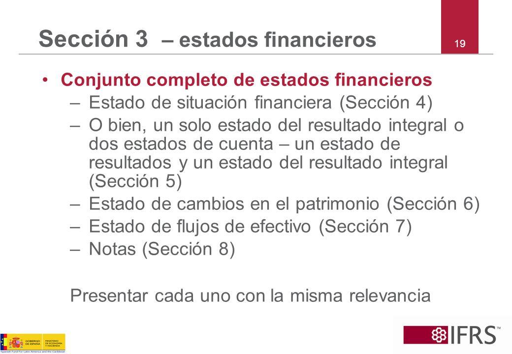 Sección 3 – estados financieros