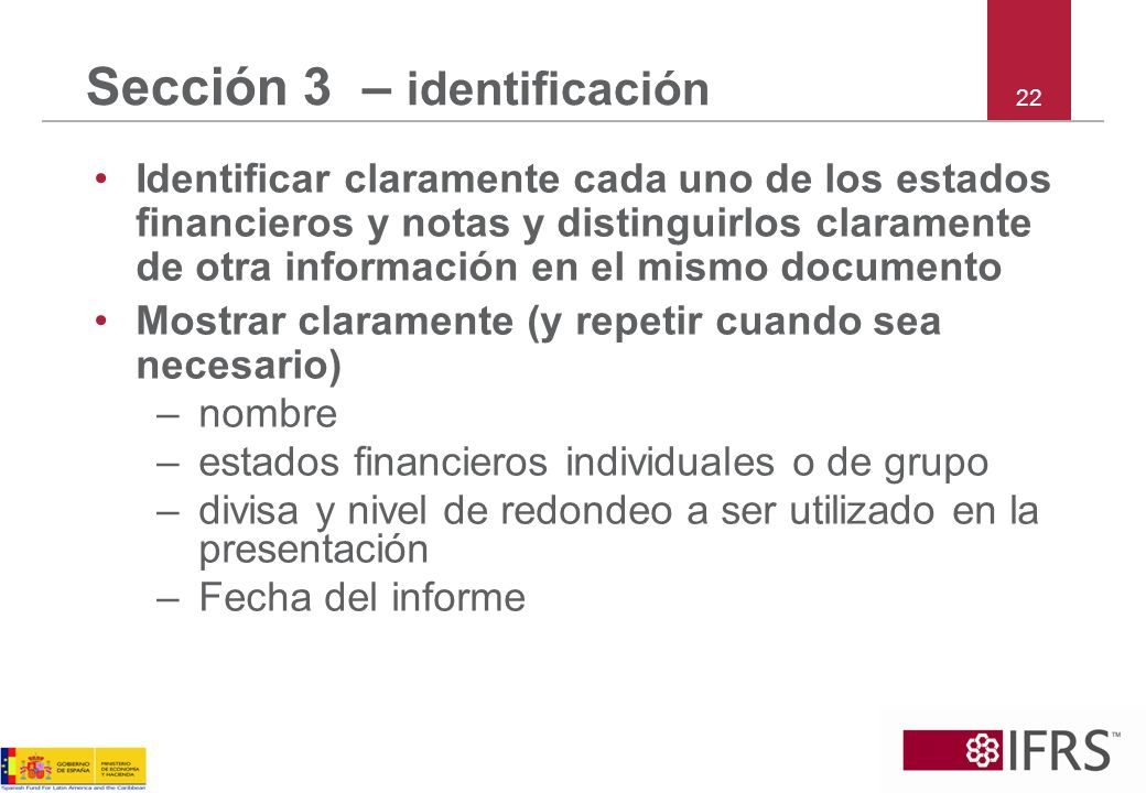 Sección 3 – identificación