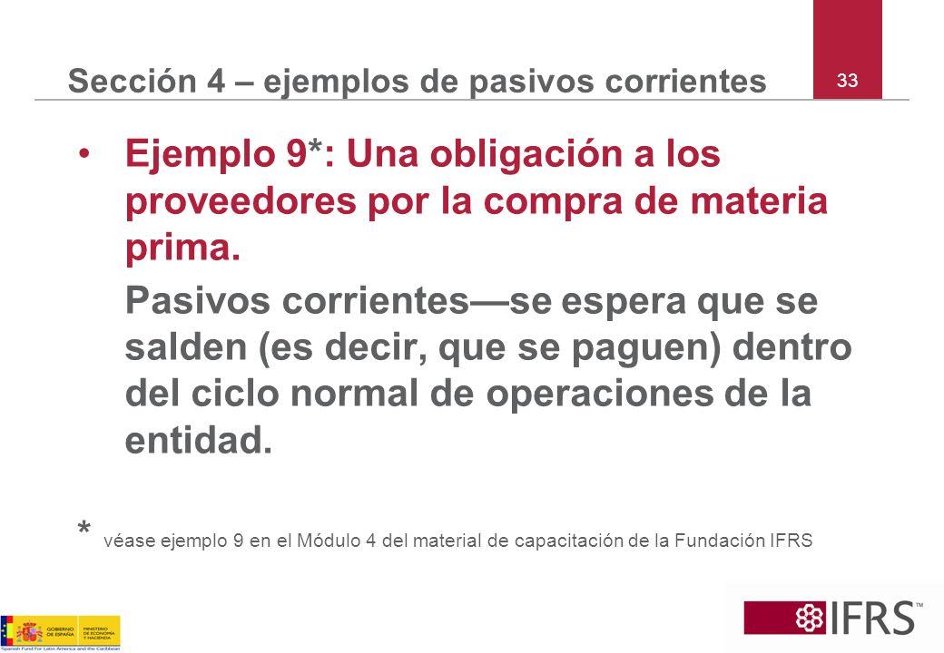 Sección 4 – ejemplos de pasivos corrientes