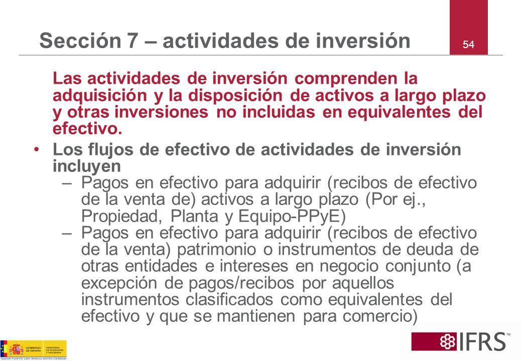 Sección 7 – actividades de inversión