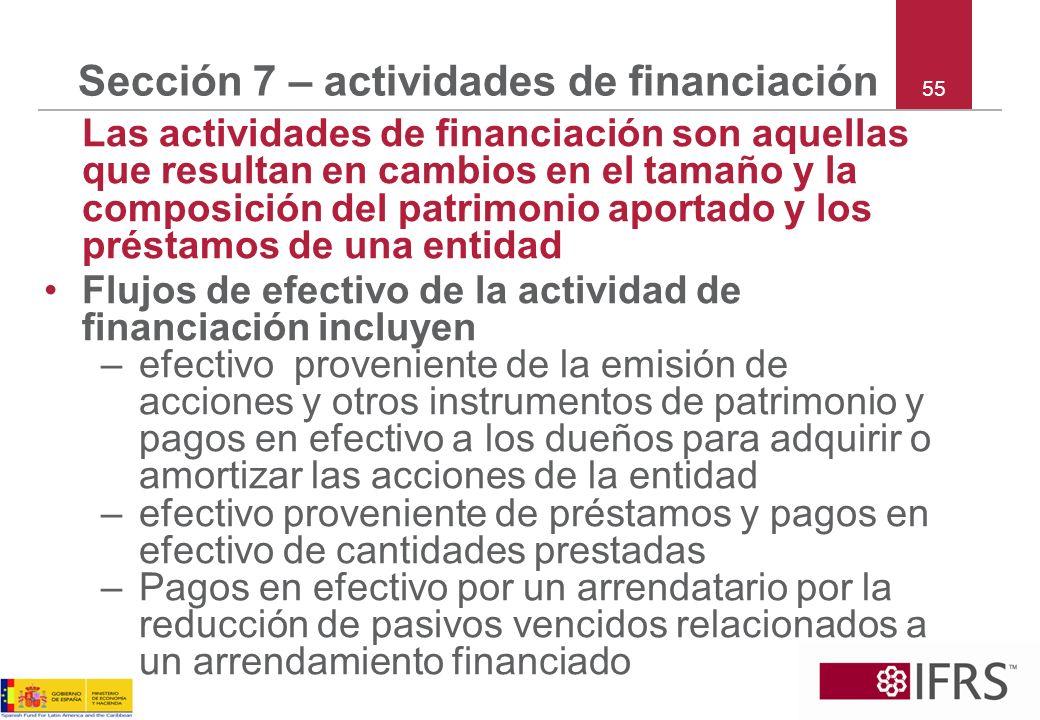 Sección 7 – actividades de financiación