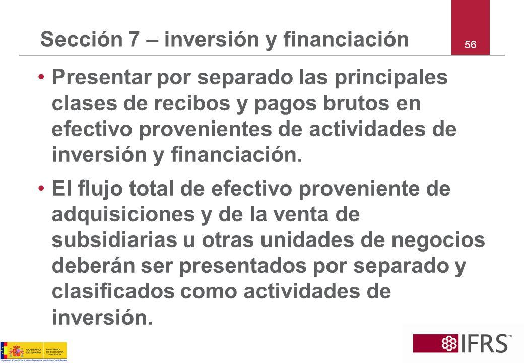 Sección 7 – inversión y financiación