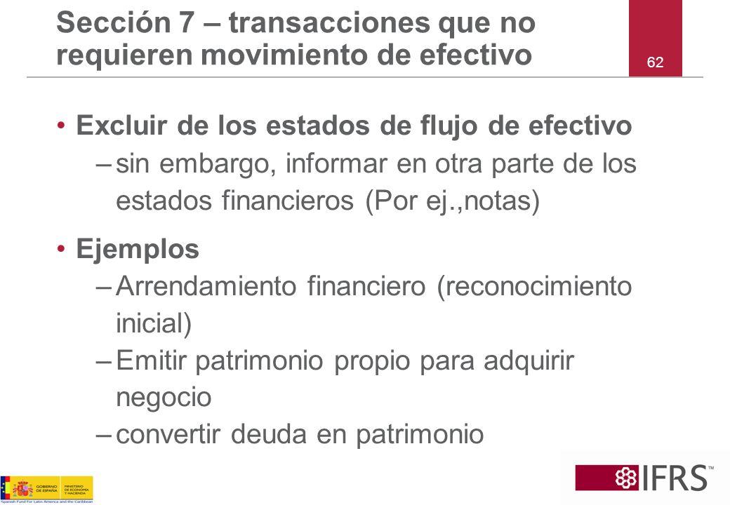 Sección 7 – transacciones que no requieren movimiento de efectivo