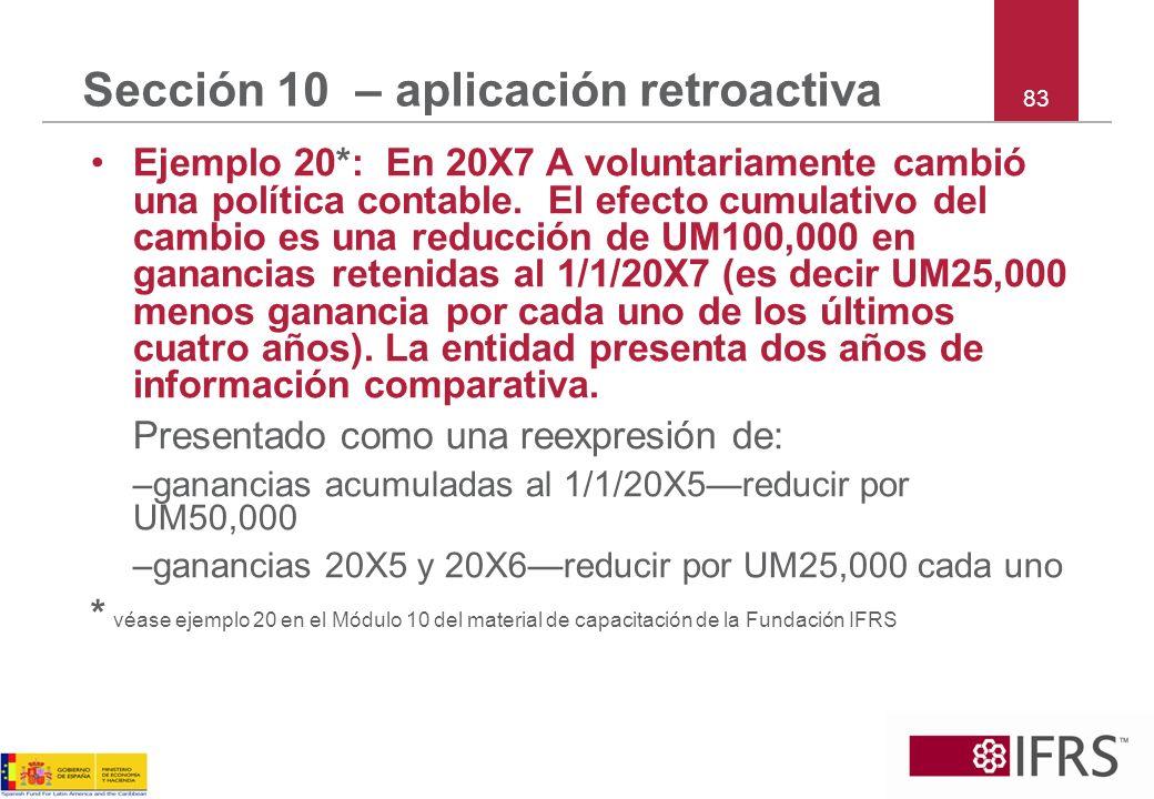 Sección 10 – aplicación retroactiva