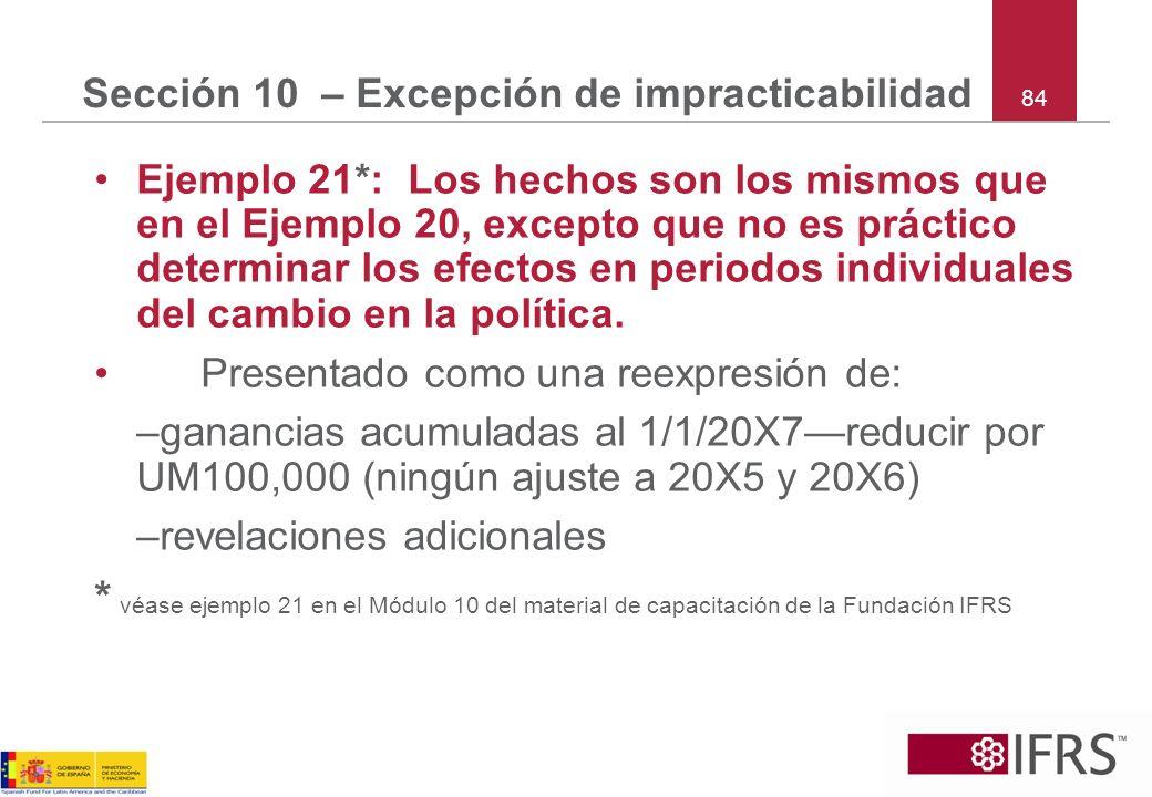 Sección 10 – Excepción de impracticabilidad