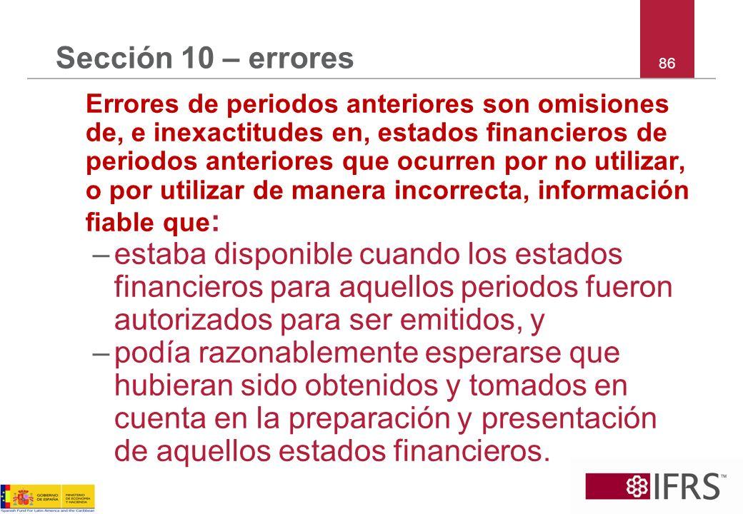 Sección 10 – errores 86.
