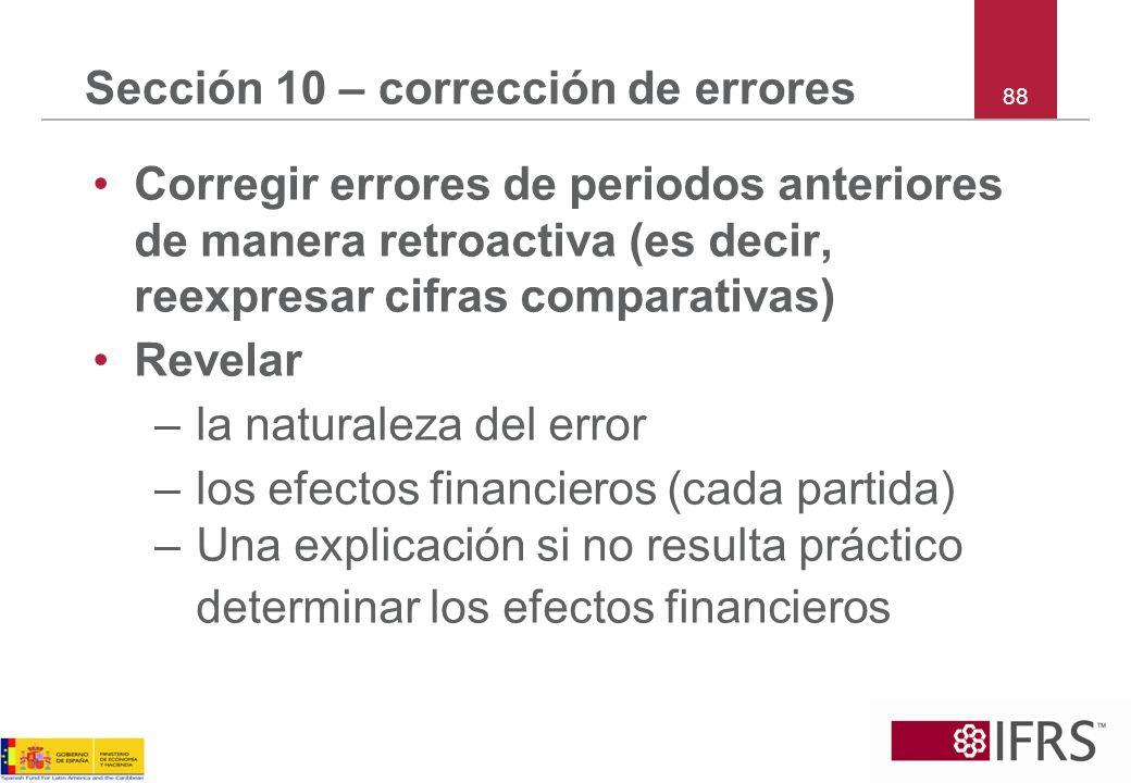 Sección 10 – corrección de errores