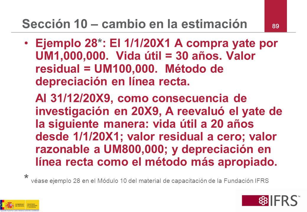 Sección 10 – cambio en la estimación