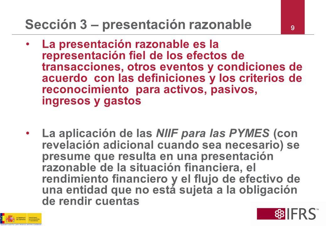 Sección 3 – presentación razonable