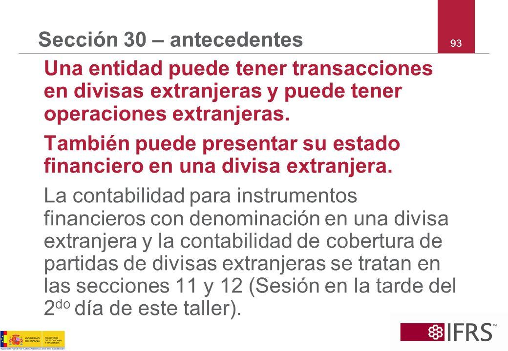 Sección 30 – antecedentes