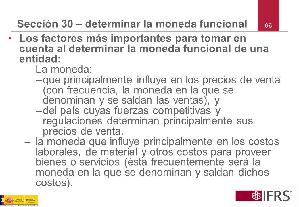 Sección 30 – determinar la moneda funcional