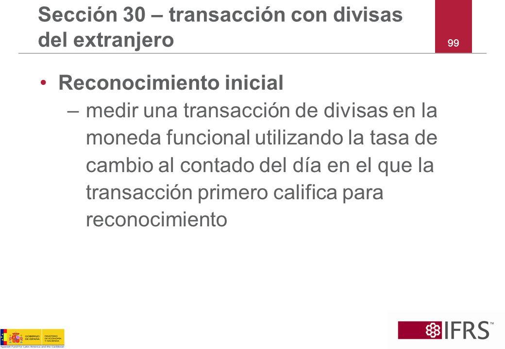 Sección 30 – transacción con divisas del extranjero