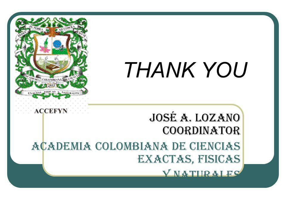 THANK YOU José A. Lozano Coordinator