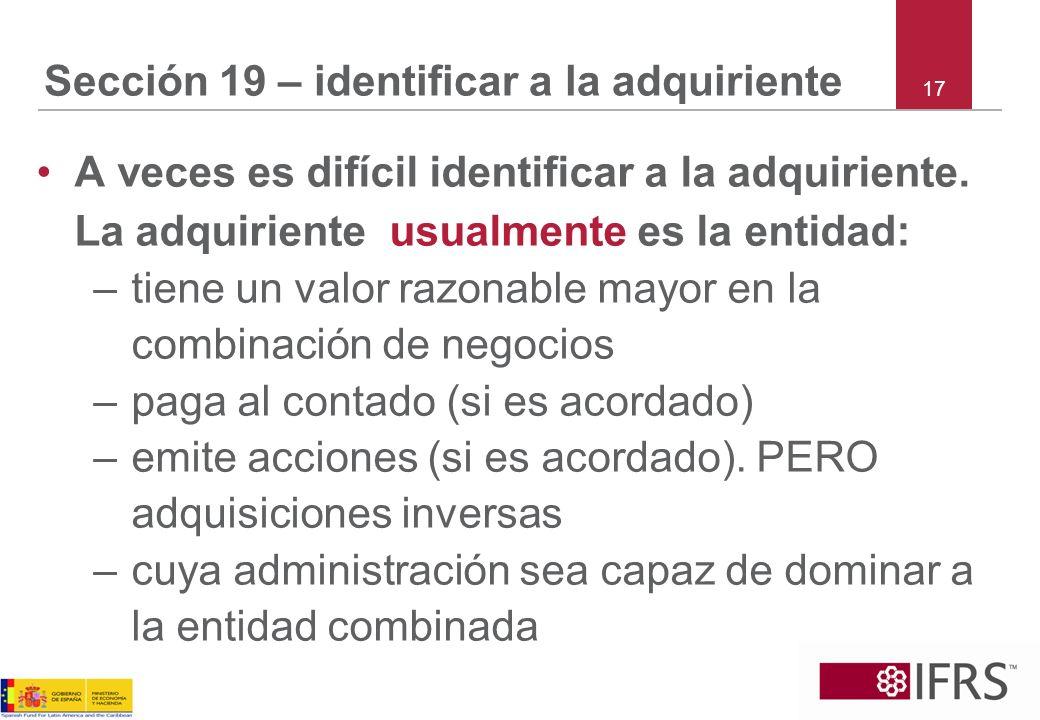 Sección 19 – identificar a la adquiriente