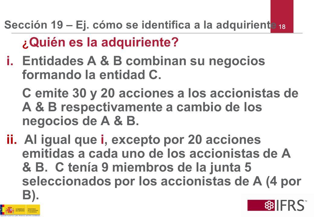 Sección 19 – Ej. cómo se identifica a la adquiriente