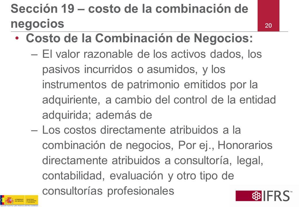 Sección 19 – costo de la combinación de negocios