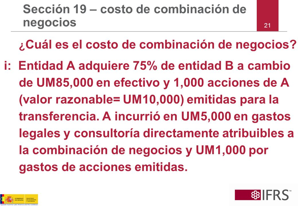 Sección 19 – costo de combinación de negocios