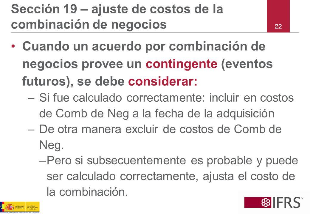 Sección 19 – ajuste de costos de la combinación de negocios