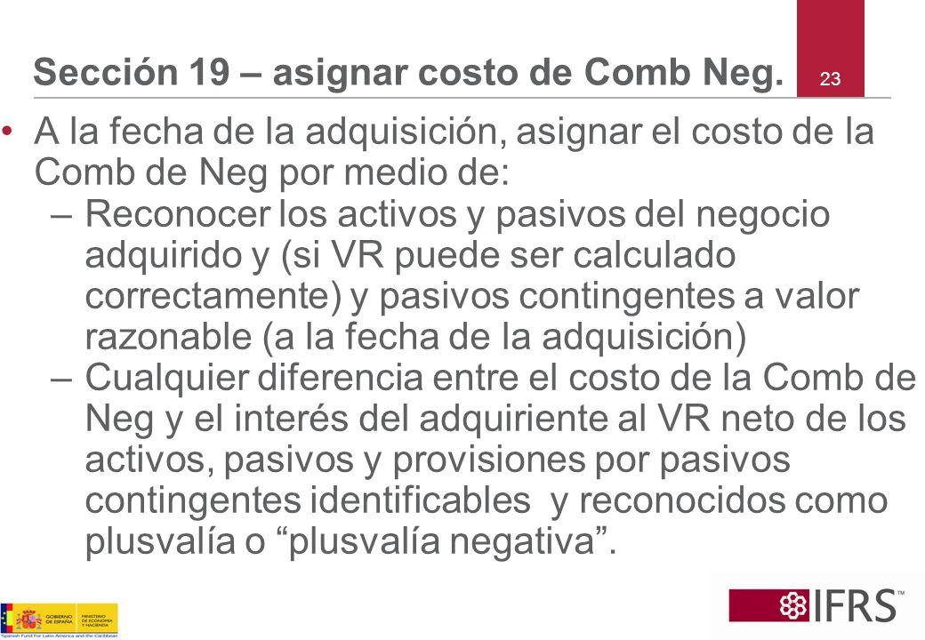 Sección 19 – asignar costo de Comb Neg.