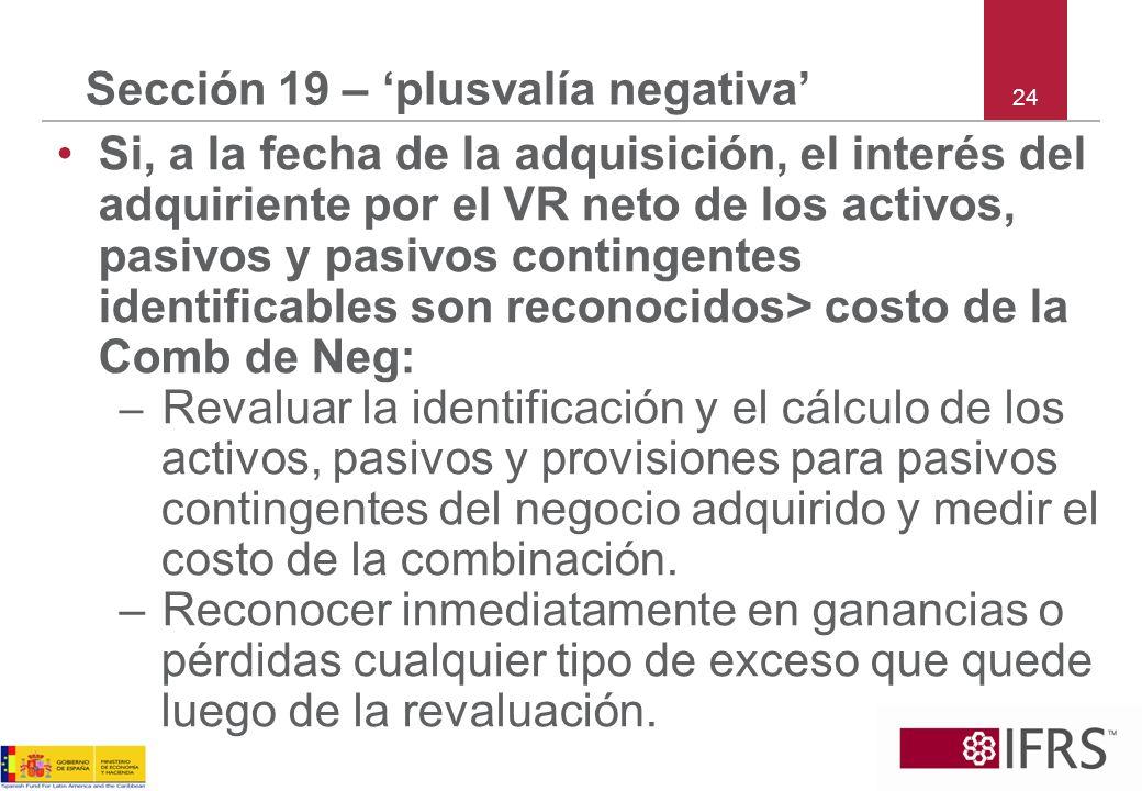 Sección 19 – 'plusvalía negativa'