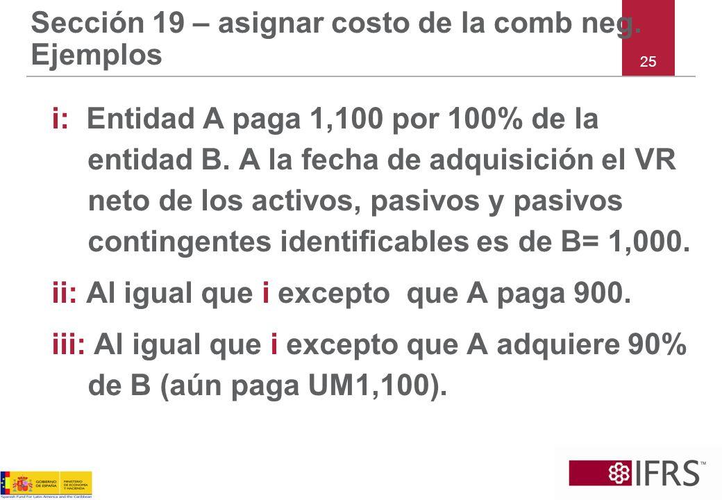 Sección 19 – asignar costo de la comb neg. Ejemplos