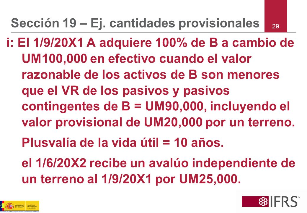 Sección 19 – Ej. cantidades provisionales