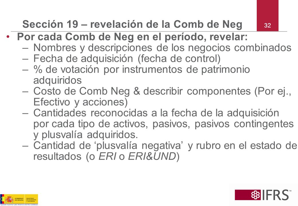 Sección 19 – revelación de la Comb de Neg