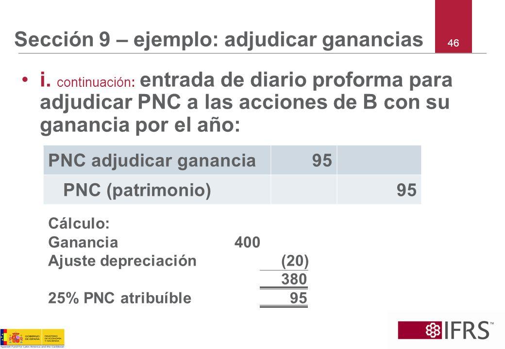 Sección 9 – ejemplo: adjudicar ganancias